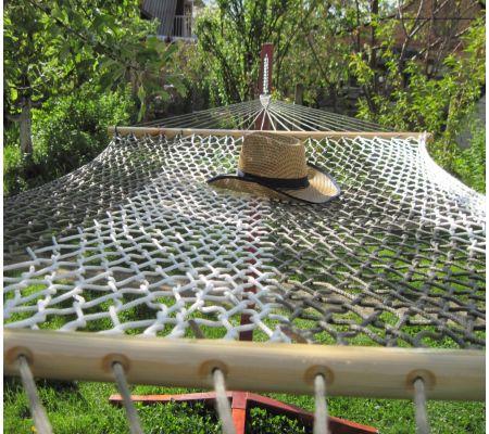 Заказать гамак в полоску бело-оливковый
