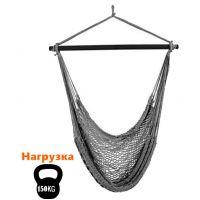 Плетеное подвесное кресло из веревки, серый лен