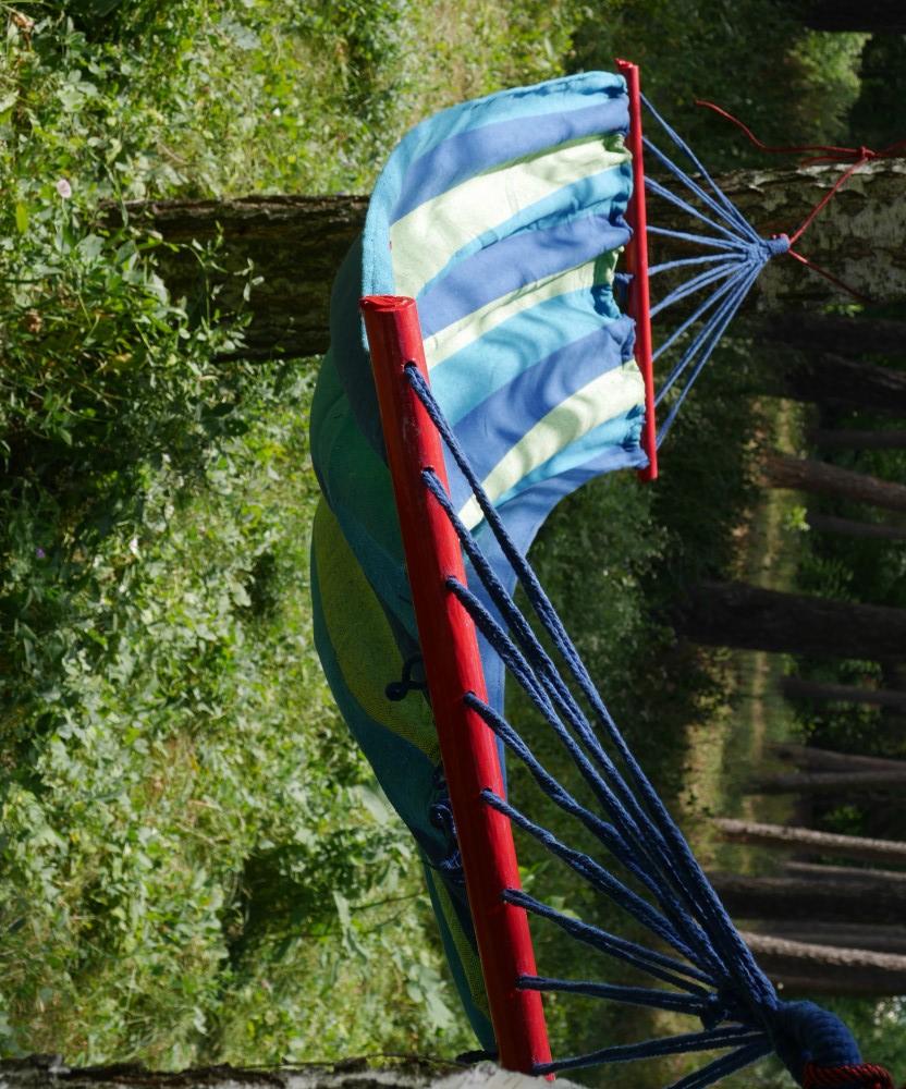 Гамак подвесной с планкой сине-зеленого цвета