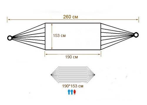 Розміри тканинного двомісного гамака