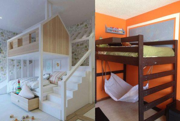 Двухуровневые детские кровати можно использовать для игр