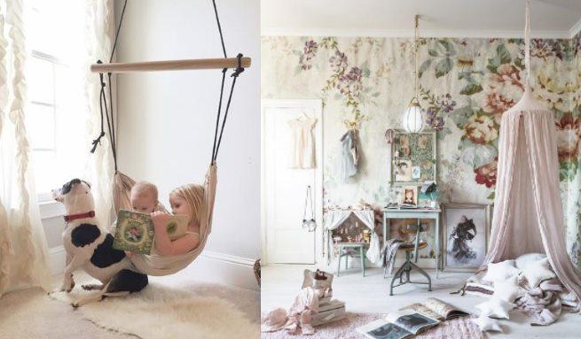 Подвесные качели и уютные уголки в дизайне детской комнаты