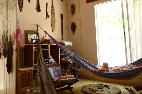 фото гамака повешенного в спальне