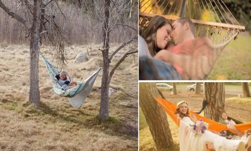 Свадебная фотосессия на природе с гамаком